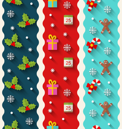 weihnachten: Illustration Set Wallpaper with Traditional Colorful Elements for Christmas and Happy New Year - Vector Illustration