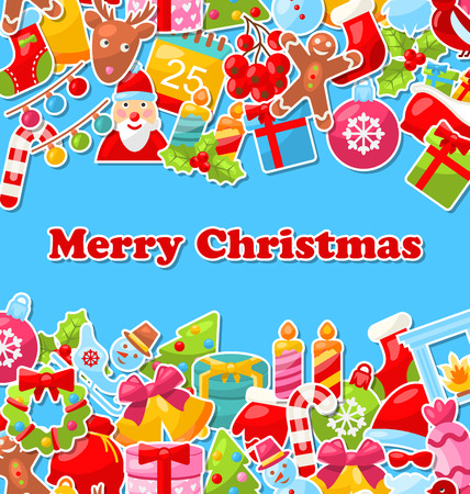 weihnachten: Illustration Merry Christmas Celebration Card with Traditional Elements - Vector