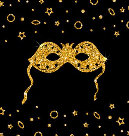 shimmering: Illustration Golden Shimmering Carnival Mask with Tinsel on Dark Background - Vector Illustration