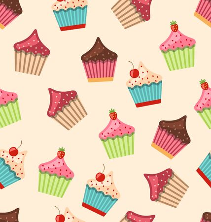 muffins: Illustration Seamless Pattern with Different Muffins Sweet Wallpaper - Vector