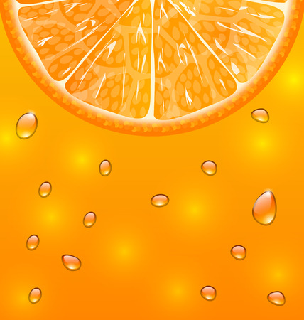 limpid: Illustration Orange Background with Slice and Drops - Vector