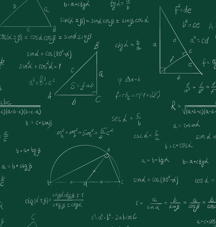 trigonometry: Seamless trigonometry pattern handwriting on green school board - vector