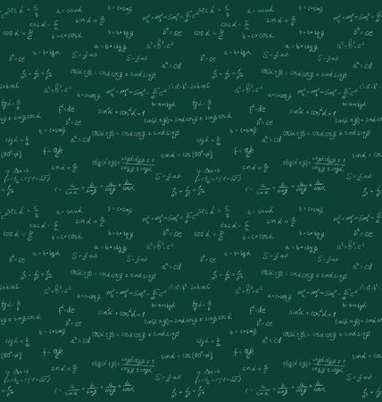 teorema: Sin fisuras patrón de escritura a mano matemáticas en la junta escolar verde - vector