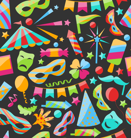 carnival: Illustration Carnival Seamless Texture with Colorful Cirsus Objects - Vector