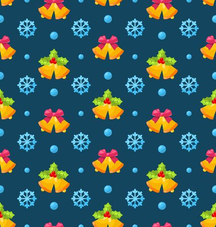 jingle: Illustration Christmas Seamless Texture with Jingle Bells and Snowflakes - Vector