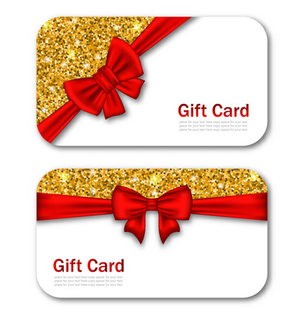 bright card: Illustration Gift Cards with Red Bow Ribbon and Golden Sparkles. Template for Greeting Cards, Invitations, Voucher Design - Vector