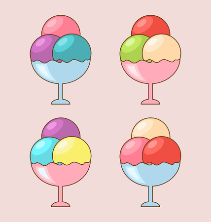portion: Illustration Collection Different Colorful Ice Creams Portion Three Balls Isolated on Pink Background - Vector