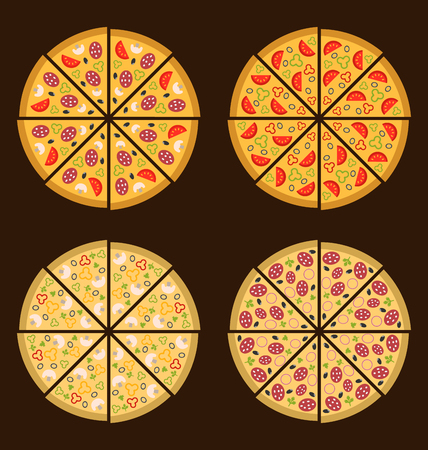 margherita: Illustration Collection of Different Pizza Isolated, Simple Minimalism Icons - Vector Illustration