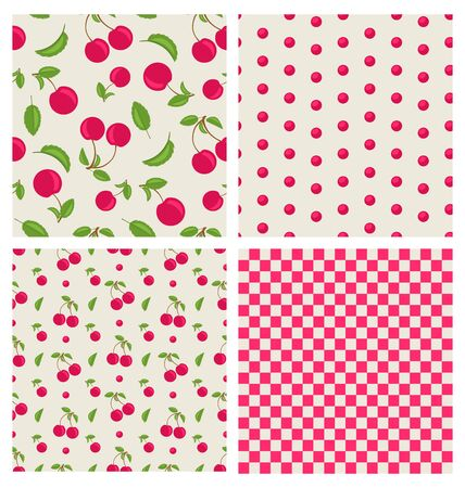 cherry pattern: Set seamless different red cherry pattern - vector Illustration