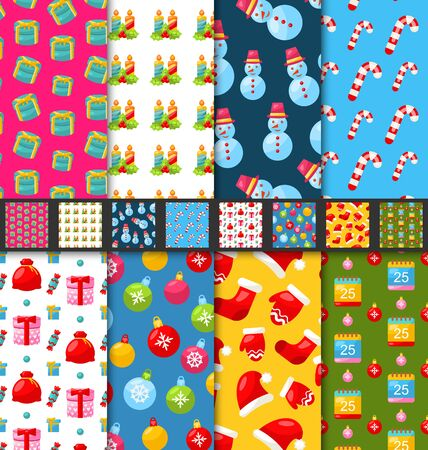 winter holidays: Illustration Collection Seamless Textures for Winter Holidays, Bright Wallpapers - Vector