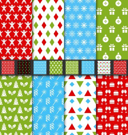 winter holidays: Illustration Set Seamless Textures for Winter Holidays, Colorful Patterns - Vector Illustration