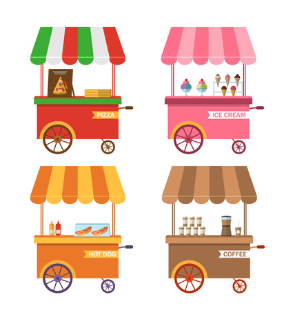 trolley case: Illustration Set Icons of Trolley Cart of Pizza, Stand of Ice Creams, Showcase with Hot Dogs, Cart of Coffee. Isolated on White Background - Vector