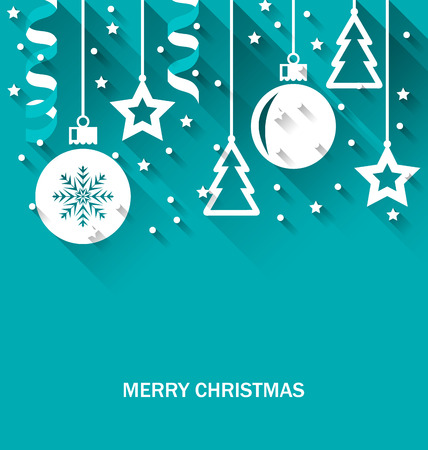 christmas backdrop: Illustration Christmas Card with Fir, Balls, Stars, Streamer, Trendy Flat Style with Long Shadows - Vector