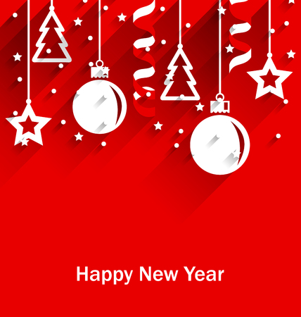 streamer: Illustration Happy New Year Greeting Card with Fir, Balls, Stars, Streamer, Trendy Flat Style with Long Shadows - Vector