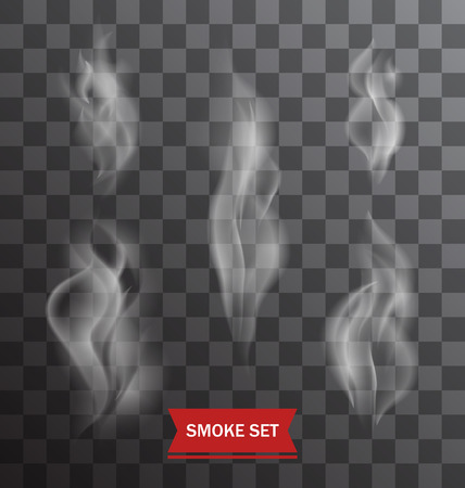Illustration Set of Transparent Smokes on a Plaid Background - Vector