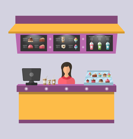 sweet shop: Illustration Sweet Shop with Cakes, Ice Creams, Muffins, Milkshakes, Coffee. Cashier Female - Vector