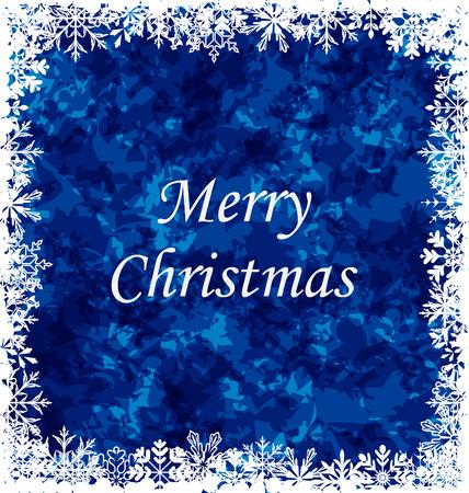 weihnachten: Illustration Merry Christmas Grunge Background, Frame Made in Snowflakes - Vector Illustration