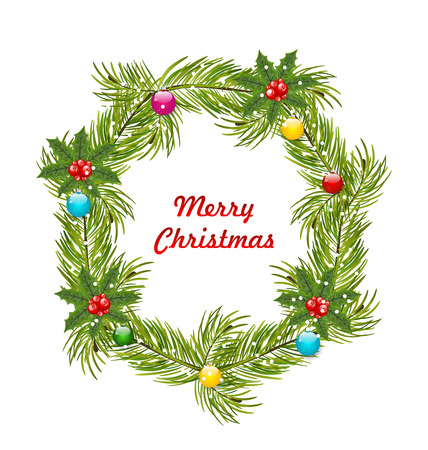 holly day: Illustration Christmas Wreath with Holly Berries and Colorful Balls Isolated on White Background - Vector