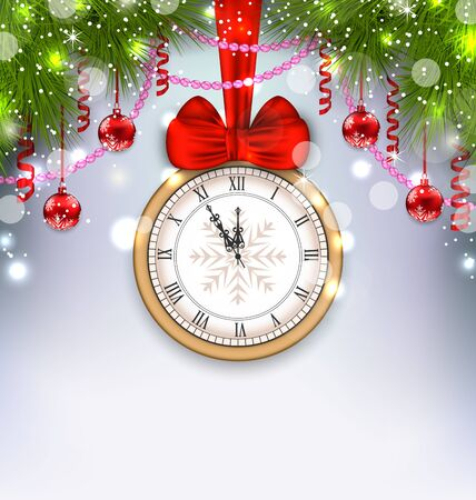 twigs: Illustration New Year Midnight Background with Clock, Balls and Fir Twigs - Vector
