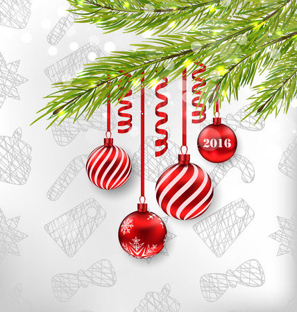 adornment: Illustration Christmas Celebration Background with Hanging Glass Balls and Adornment - Vector Illustration