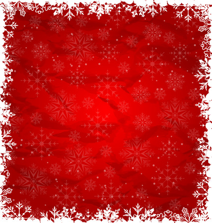 Illustration Christmas Border Made in Snowflakes, Crumpled Paper Texture - vector Vectores