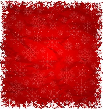 bordes decorativos: Ilustraci�n de Navidad Frontera Hecho en los copos de nieve, textura de papel arrugado - vector