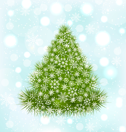 shine background: Illustration Christmas Tree with Snowflakes on Blue Shine Background - Vector