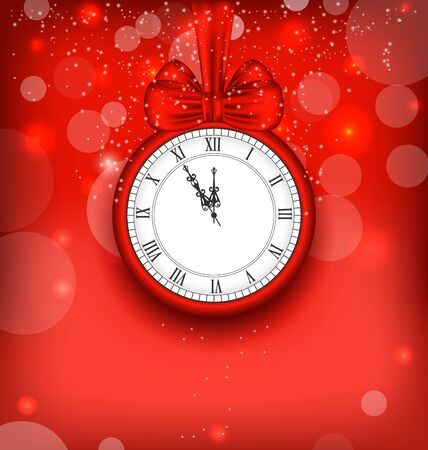 watch new year: Illustration New Year Midnight Background with Clock and Bow Ribbon - Vector