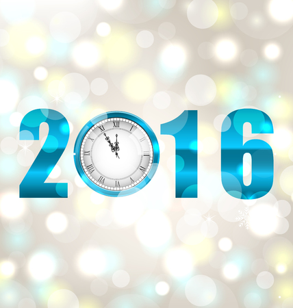 watch new year: Illustration Happy New Year 2016, Midnight Shimmering Background with Clock  - Vector Illustration