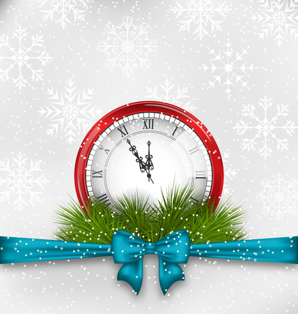 twigs: Illustration New Year Midnight Background with Clock and Fir Twigs - Vector
