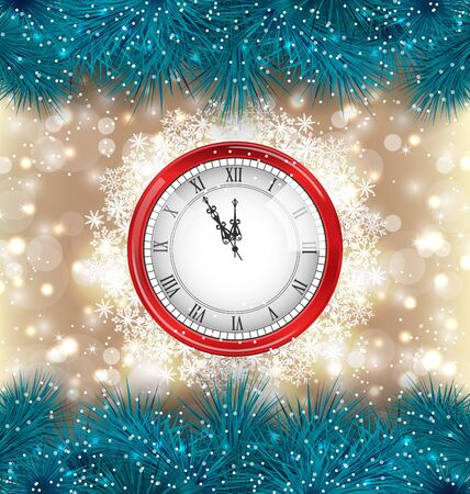 weihnachten: Illustration New Year Midnight Background with Clock and Fir Twigs - Vector