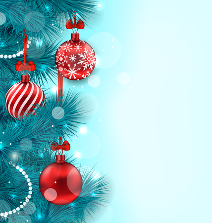 lighten: Illustration Christmas Lighten Background with Blue Fir Twigs and Red Glass Balls, Copy Space for Your Text - Vector