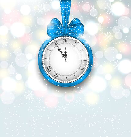 shimmering: Illustration New Year Midnight Shimmering Background with Clock - Vector Illustration