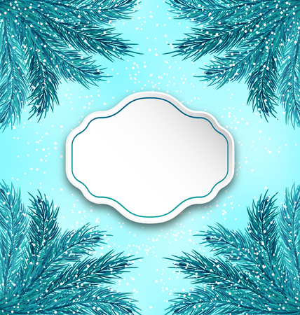 twigs: Illustration Greeting Card with Frame Made in Fir Twigs for Winter Holidays - Vector