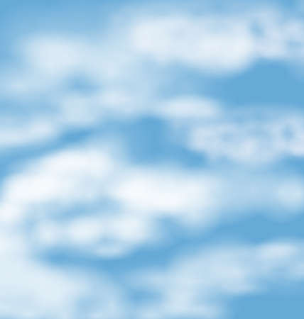fluffy clouds: Landscape atmosphere fluffy white clouds blue sky nature background - vector