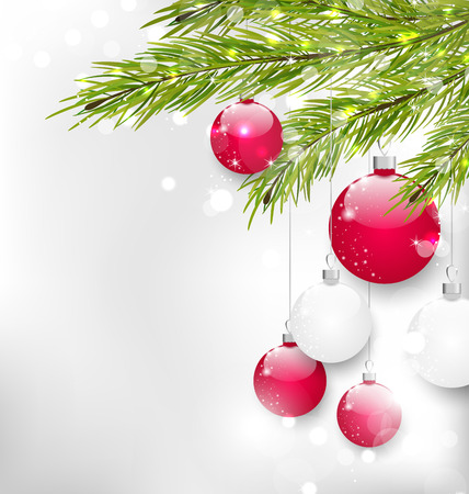 felicitation: Illustration Christmas Glitter Card with Fir Branches and Glass Balls, - Vector