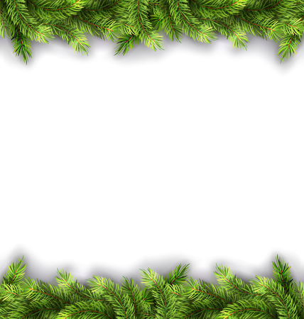 felicitation: Illustration Natural Framework with Fir Twigs, Copy Space for Your Text - Vector Illustration