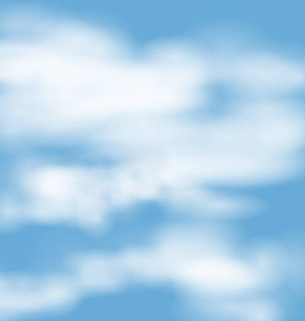 fluffy: Landscape atmosphere fluffy white clouds blue sky nature background - vector