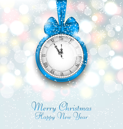 watch new year: Illustration New Year Midnight Shimmering Background with Clock - Vector Illustration