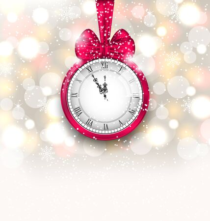 watch new year: Illustration New Year Midnight Sparkling Background with Clock and Bow - Vector Illustration