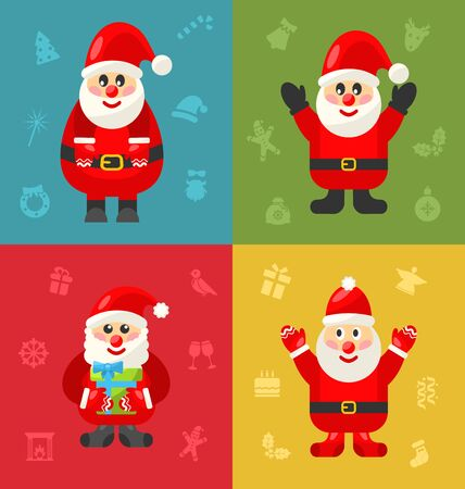 saint nick: Jolly Christmas Santa Holding Up A Stack Of Presents In The Snow - vector