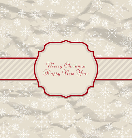 artboard: Illustration Old Invitation with Snowflakes Texture for Winter Holidays - Vector
