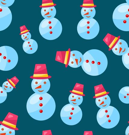 snowman vector: Seamless Christmas pattern fun cute snowman - vector