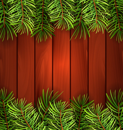 felicitation: Illustration Holiday Wooden Background with Fir Branches, Copy Space for Your Text - Vector Illustration