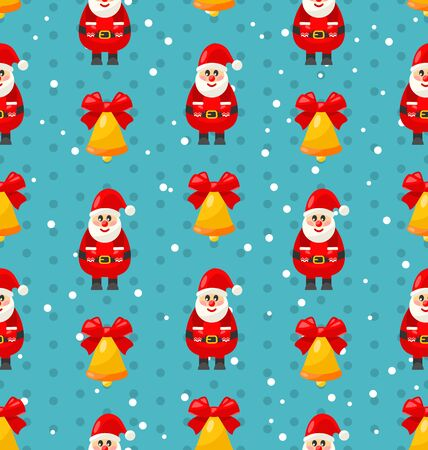 jingle bell: Merry Christmas and Happy New Year seamless pattern with Santa and jingle bell - vector