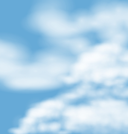 atmosphere: Landscape atmosphere fluffy white clouds blue sky nature background - vector