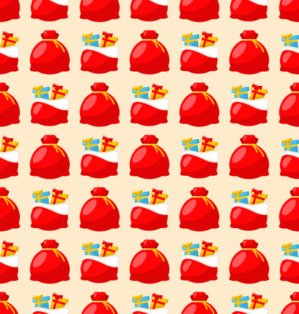 bagful: Merry Christmas and Happy New Year seamless pattern bagful with gifts - vector