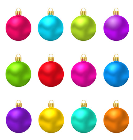 weihnachten: Illustration collection colorful Christmas Glass Balls - Vector