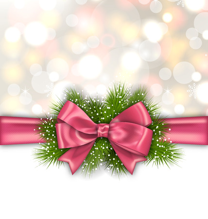 pink bow: Illustration Winter Elegant Background with Pink Bow Ribbon and Green Pine Branches - Vector Illustration
