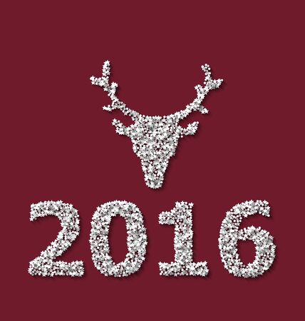 rime frost: Symbol new year xmas deer head red backdrop made from white hoarfrost particles - raster